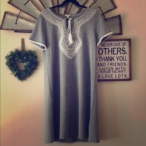 Embroidered Grey Dress.